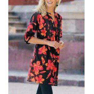 Soft Surroundings Floral Hibiscus Tunic Red Black